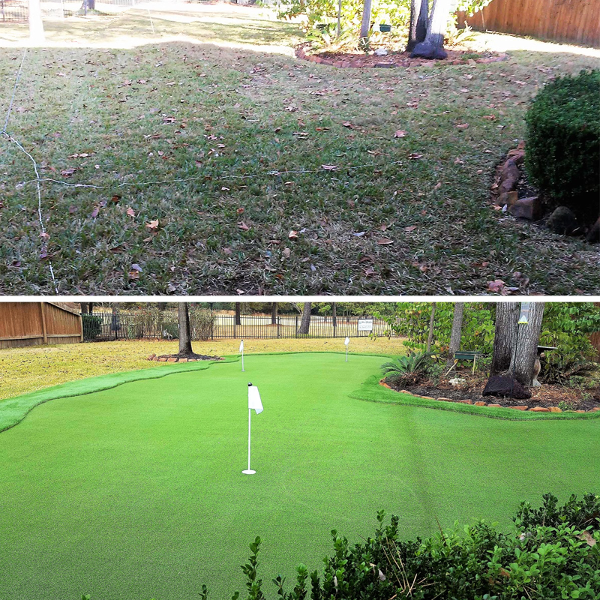 Before and after artificial putting grass installed in backyard