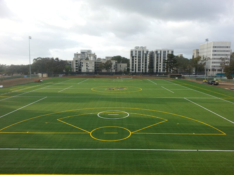 Artificial turf on sports field