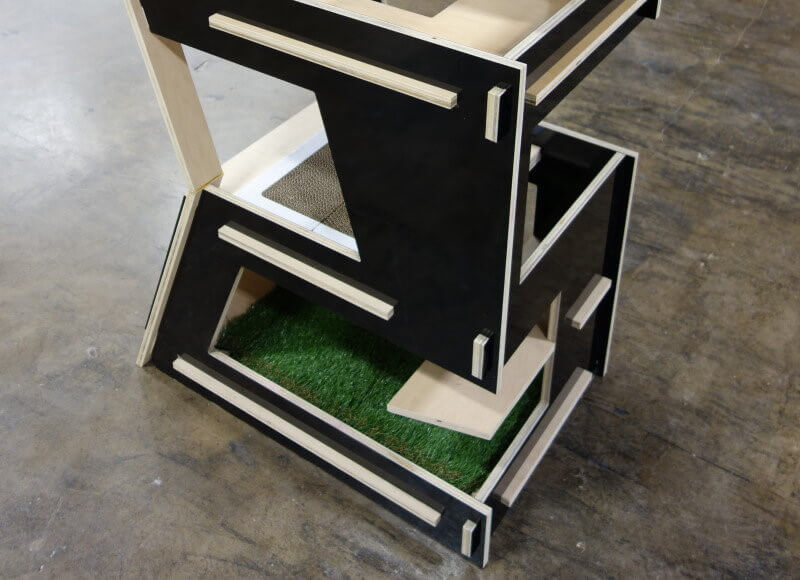 cat tower with artificial turf