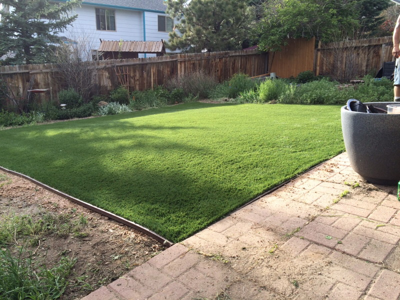 Backyard grass replaced with artificial grass