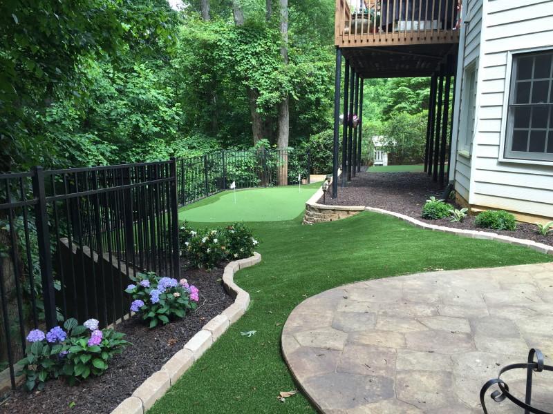 hilly backyard putting green