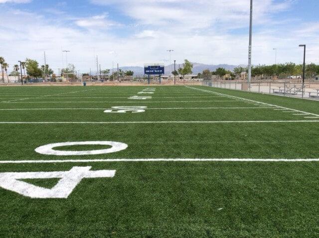 Football Stadium with artificial turf grass