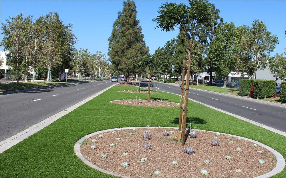 Dry Creek Median with fake grass