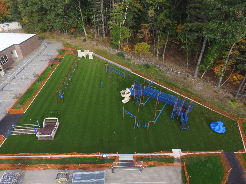Spofford School playground on artificial turf