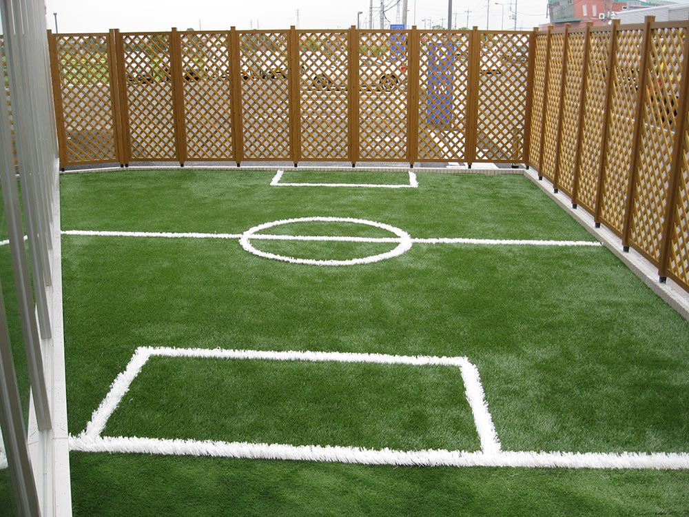 Small fenced in soccer field with artificial turf
