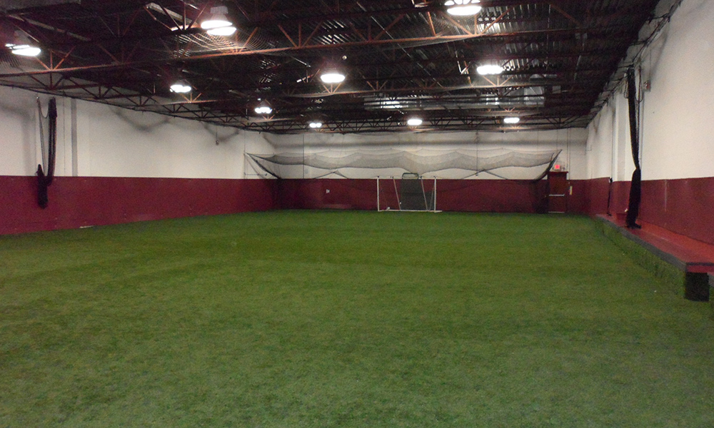 Indoor soccer field with artificial turf