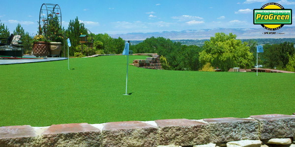 Putting green with vibrant artificial turf