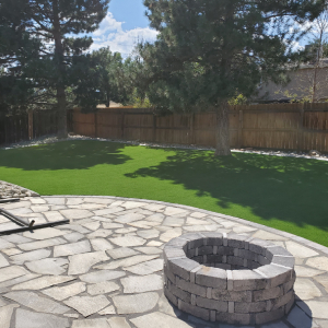 Denver Backyard Turf with Fire pit