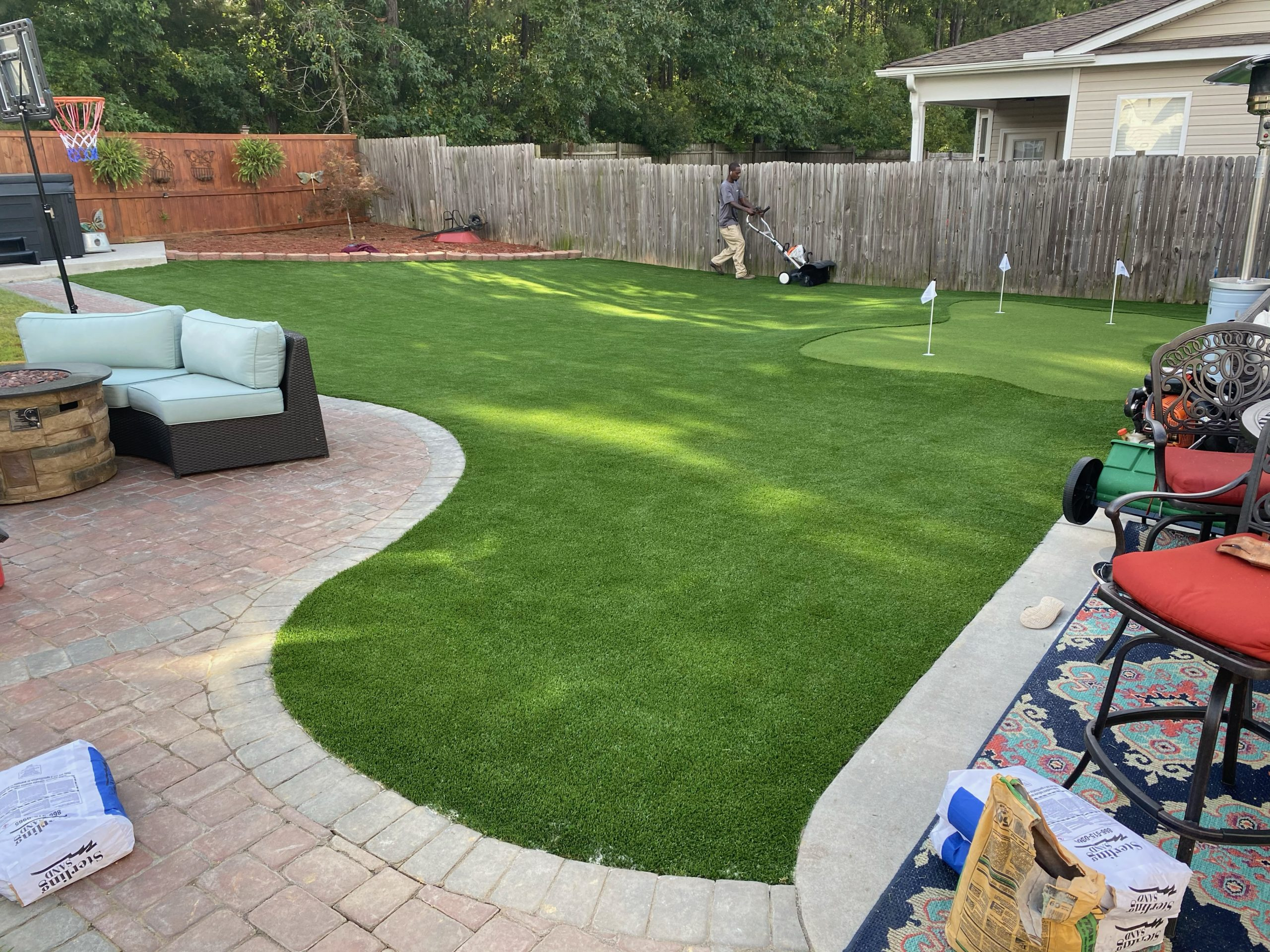 American made turf installed at home