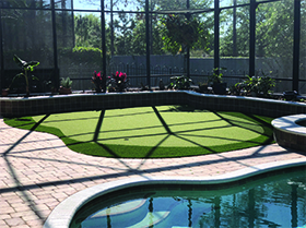 putting green in lanai deck by pool maitland fl