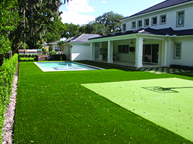 Fake grass pool area and basketball court Pine Castle, FL