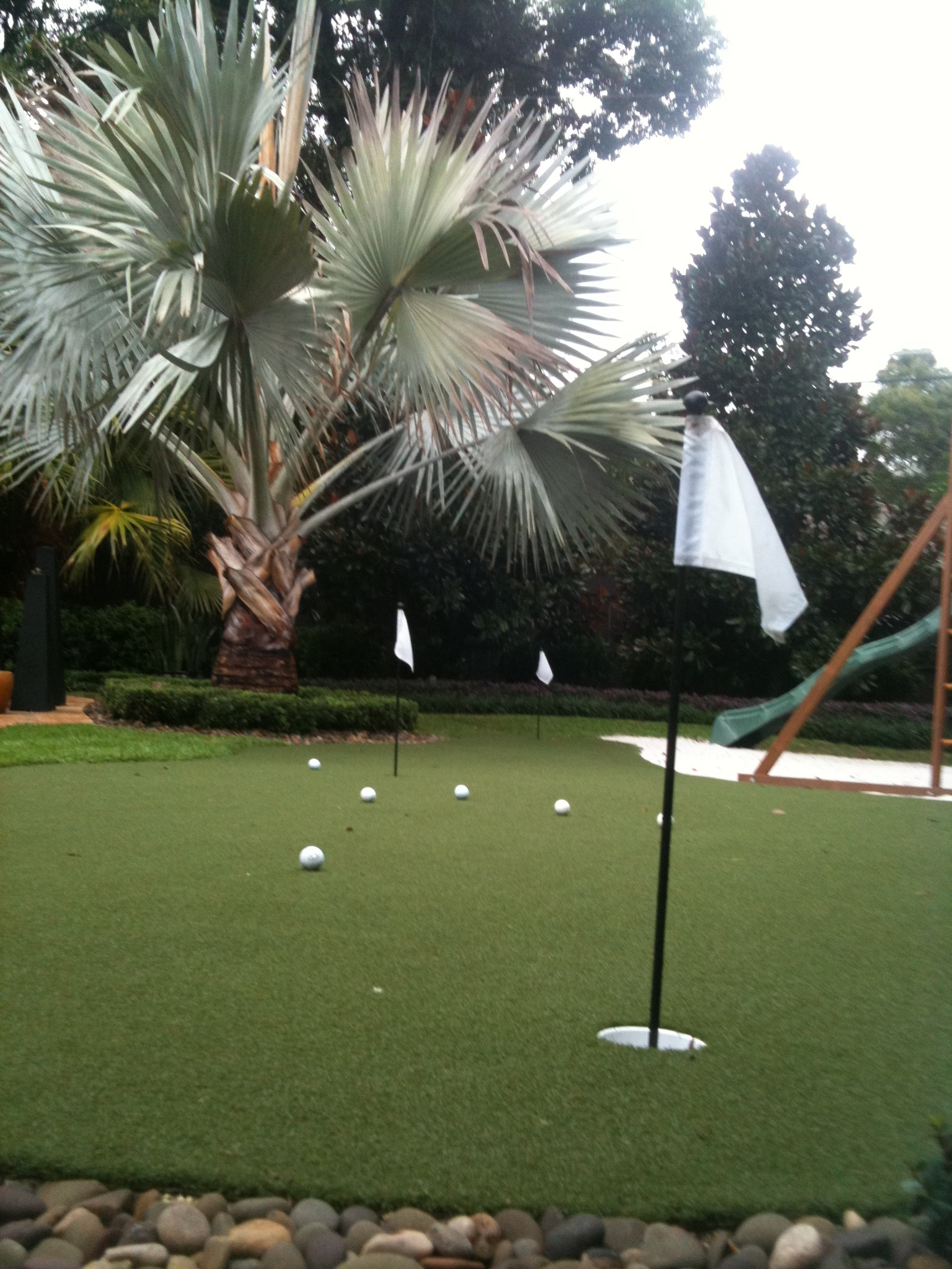 up close view of putting green flag and golf balls in orlando