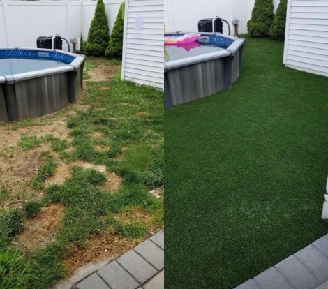 Above Ground Pool Surround by artificial grass