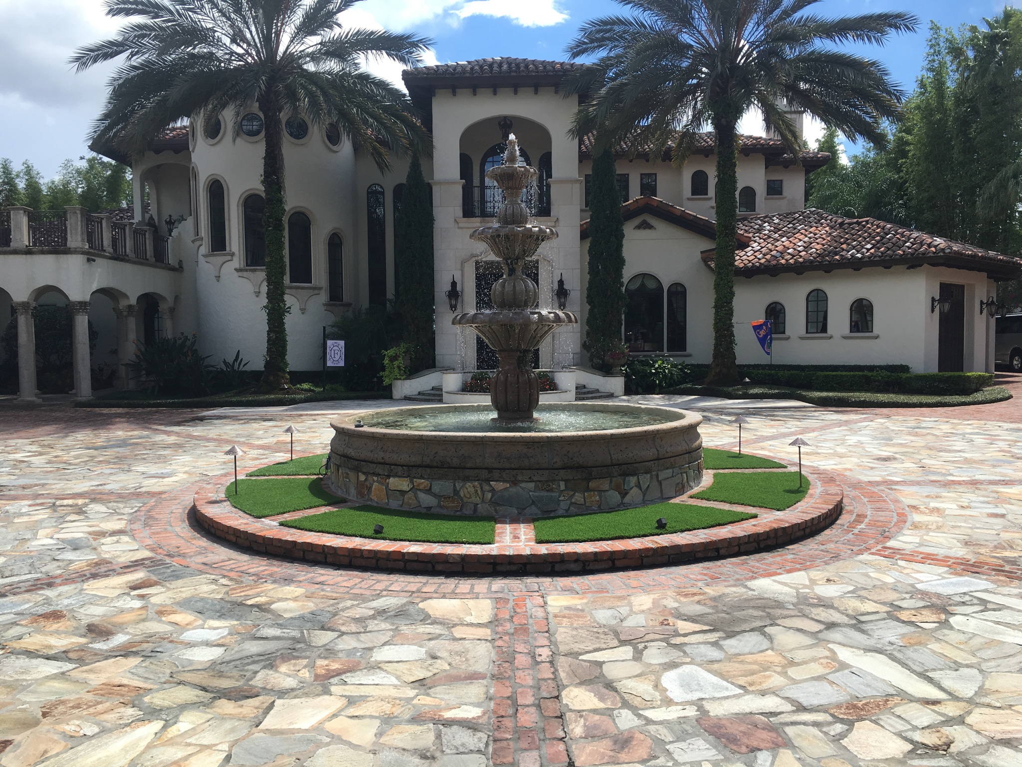 beautiful custom fountain structure with artificial turf orlando fl