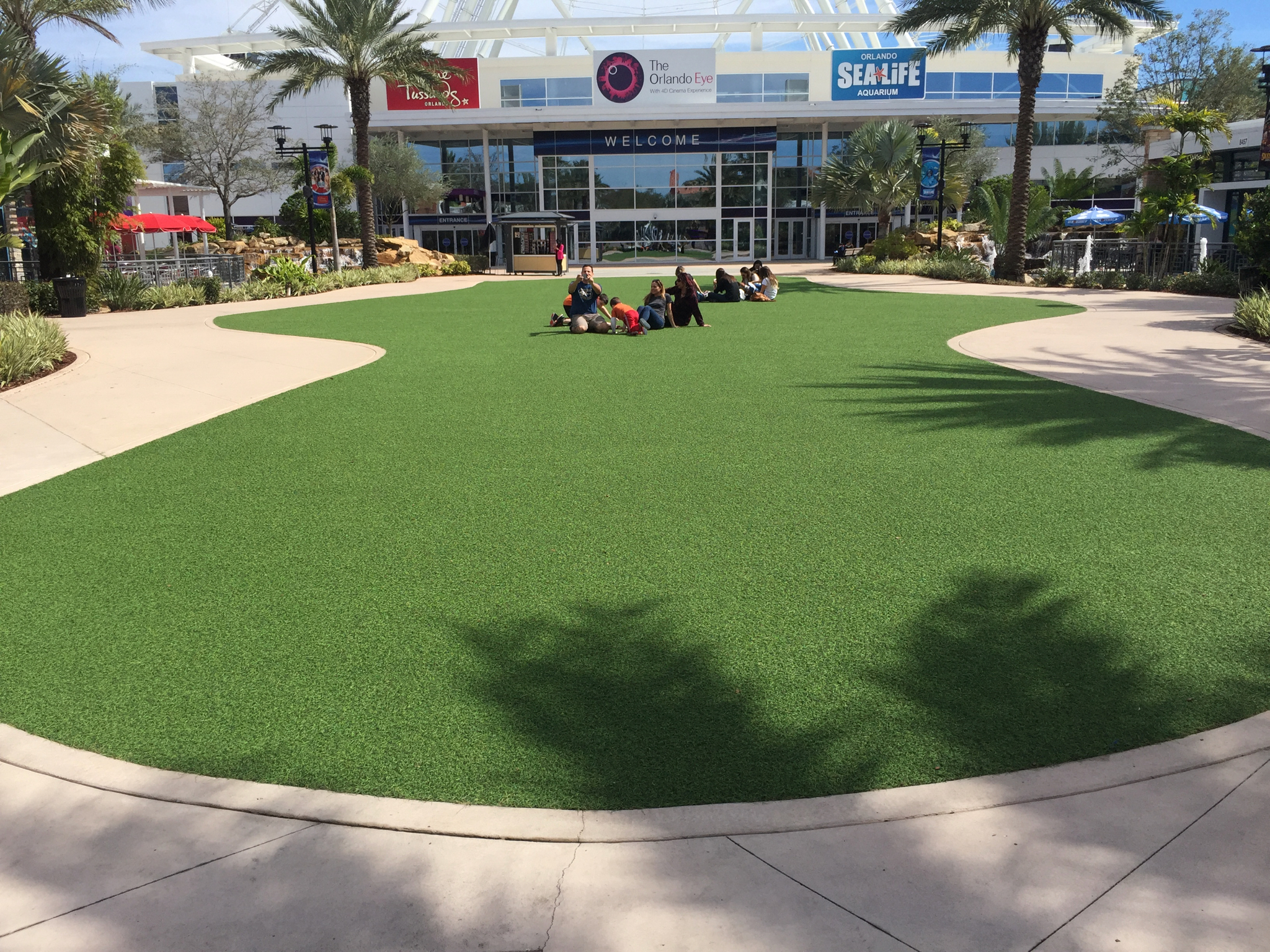 large commercial gathering space with artificial turf in orlando fl