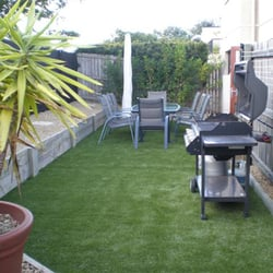 Small Turf Yard with Grill