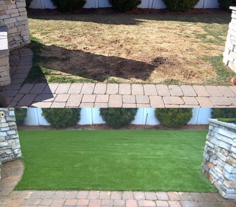 artificial grass and stone walkway long island