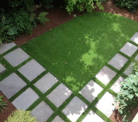 small seattle yard with paver steps