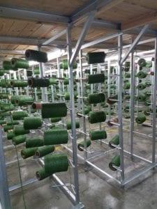 Turf fiber rolls in ProGreen's Dadeville, Alabama facility.