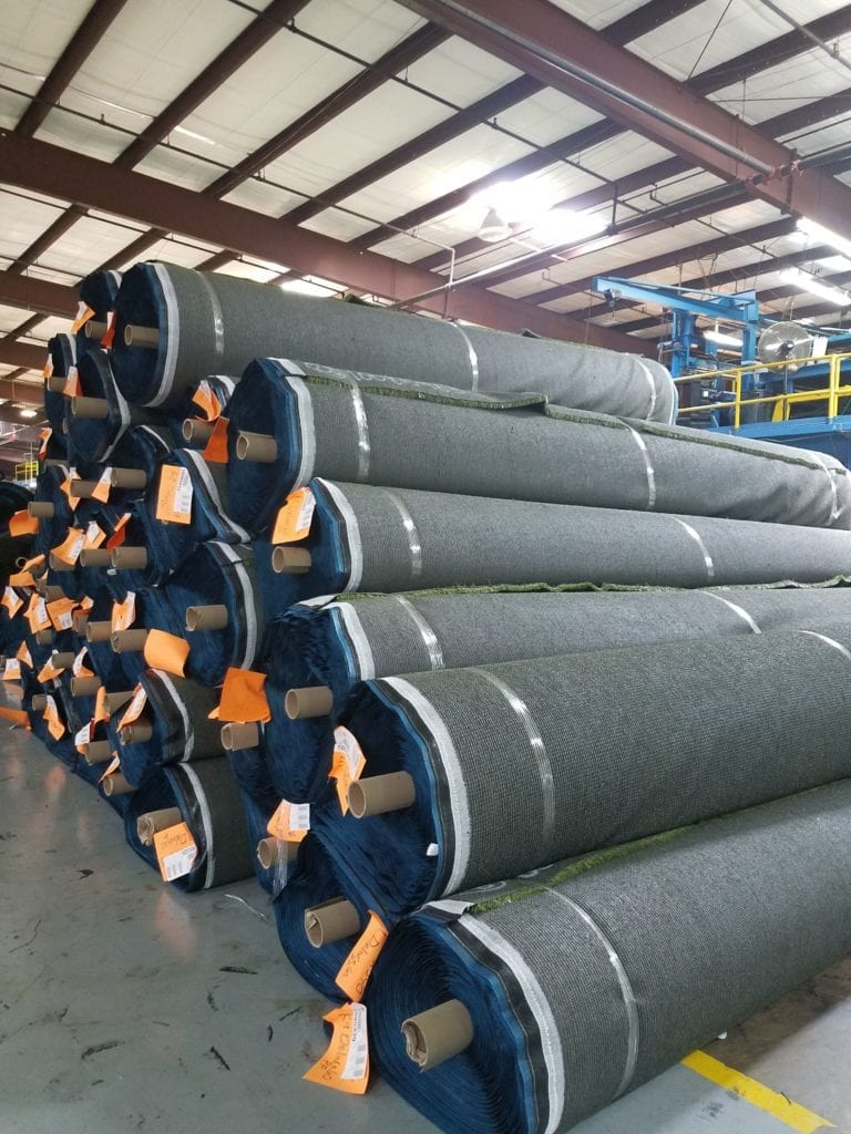 American made turf rolls ready for shipping.