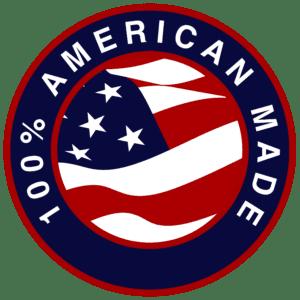 100% American Made Logo with USA Flag