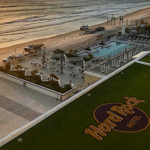 Commercial artificial grass installation at hard rock cafe